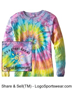 Adult Tie Dye Multi Color Long Sleeve Tshirt Design Zoom